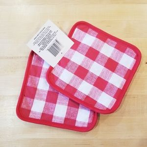 Other - 2/$12 red and white plaid potholders